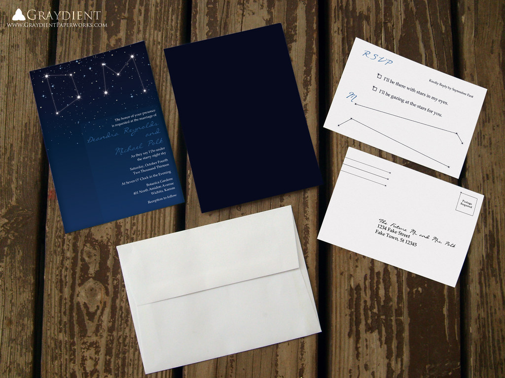 Starry Night Sky Constellation Wedding Invitations Suite | Flickr