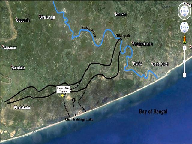 चन्द्रभागा नदी का सम्भावित मार्ग (काली लकीरों में)