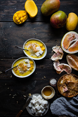 mango pomelo sago, with haupia | two red bowls | by Two Red Bowls