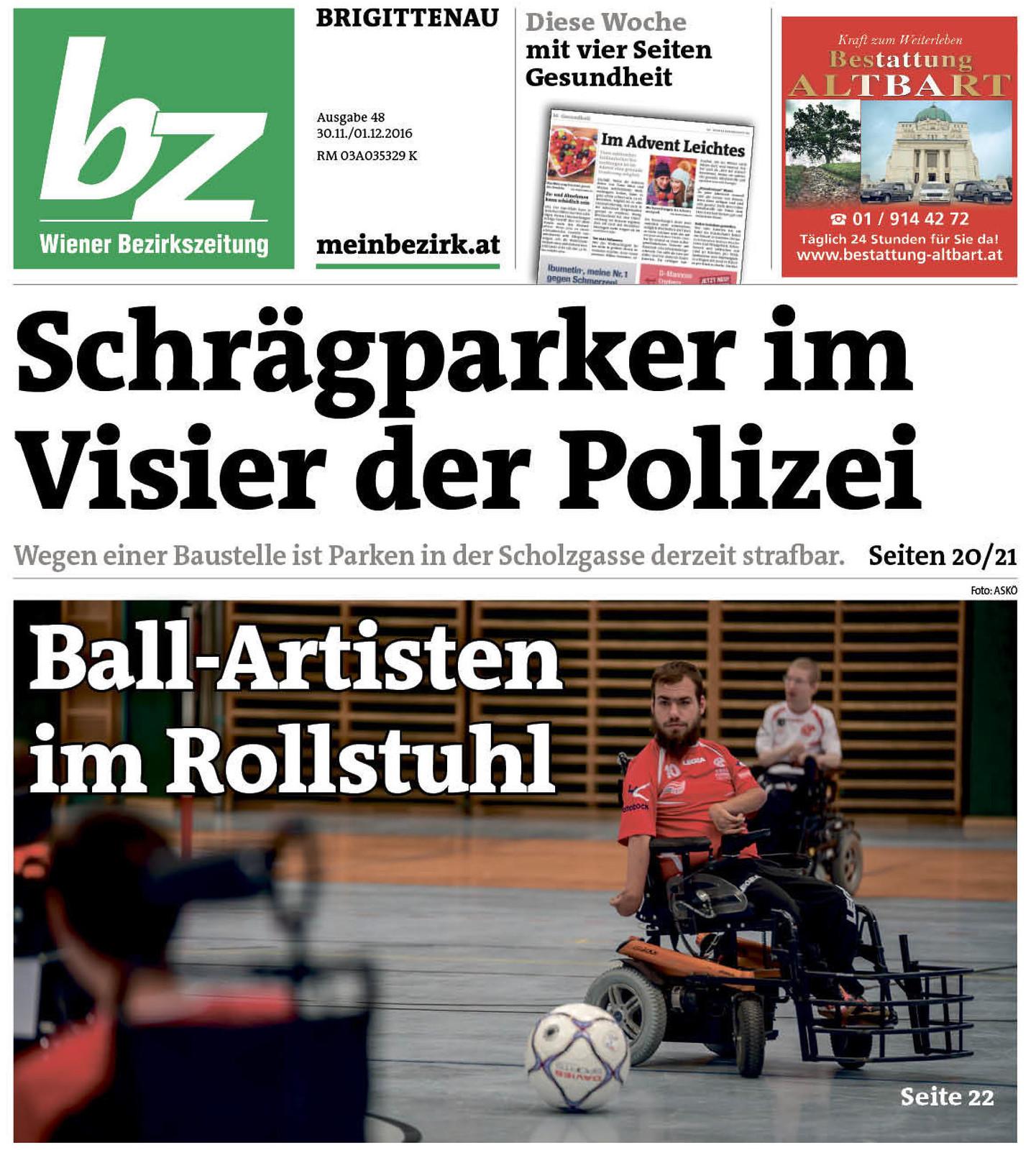 Titelseite Wiener Bezirkszeitung Brgittenau