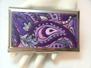 Purple Paisley Business Card Holder | by polymerclaycreations