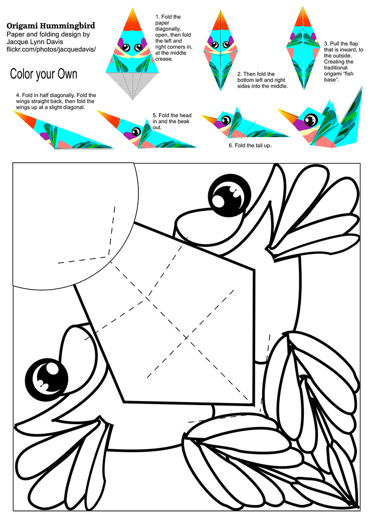Origami Hummingbird Color Your Own The Instructions And Flickr