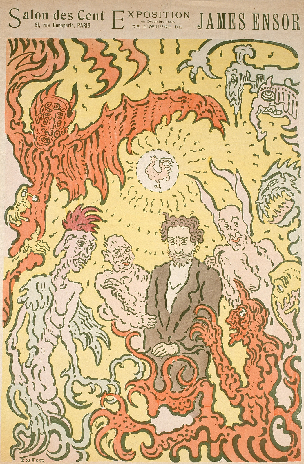 James Ensor - Demons Teasing Me,  Poster for the James Ensor Exhibition at the Salon des Cent in Paris , 1898