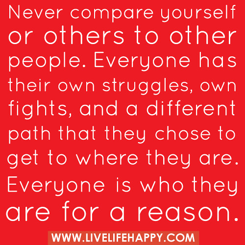 """Never compare yourself or others to other people. Everyon ... Quotes About Being Yourself"
