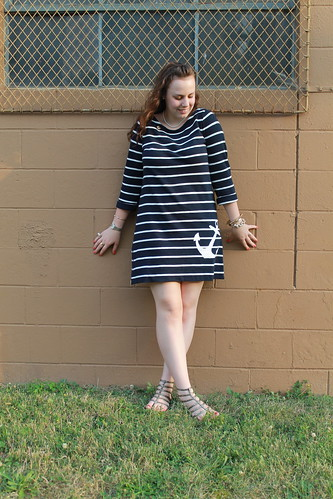 "Sailor, sailor outfit: J. Crew ""Maritime Anchor Dress"" with zipper detail, bulldog brooch, gladiator sandals, pearls, J. Crew ""Pavé cable link bracelet"", signet ring, various jewelry 