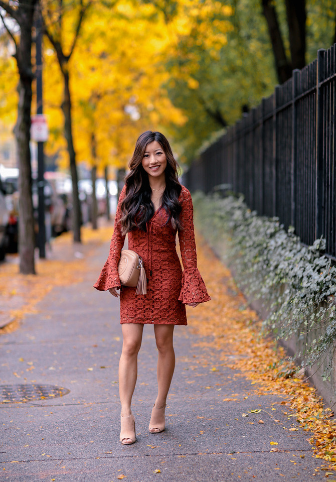 free people back to back crochet lace bell sleeve dress