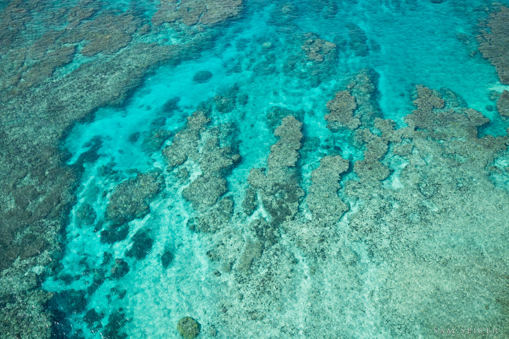 Gorgeous clear water and coral reef from above, Amami Oshima, Japan