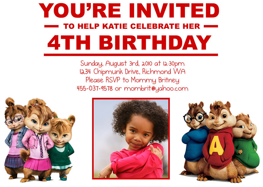 Alvin and The Chipmunk Custom Birthday Invitation Flickr