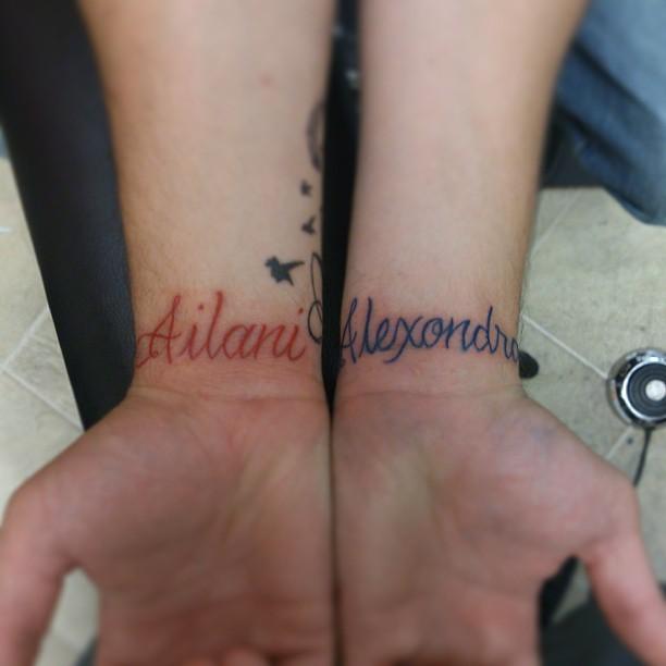Ailani Alexondrae Freehand Lettering Cursive Names Tattoo Color