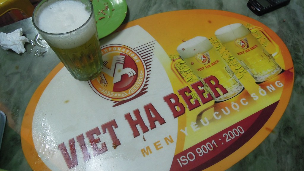 Viet Ha Beer at the Bia hoi, Tay Ho, Vietnam