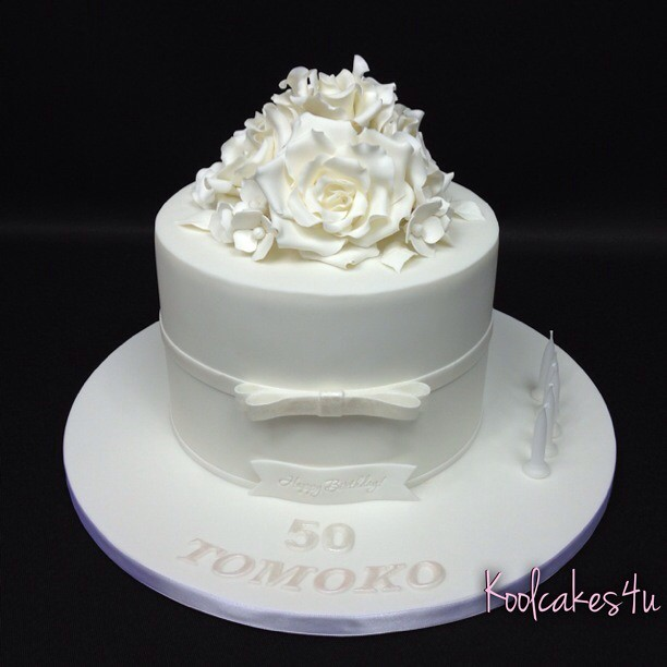 White Rose Birthday Cake All With Five Flickr Jpg 612x612