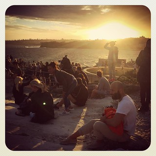 Looking for the moon. Blinded by the sun #supermoon #sunset #atbondi #sydney | by andy@atbondi