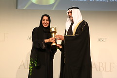 H.E. Dr Maitha bint Salem Al Shamsi, Minister of State, UAE Federal Government, UAE, receiving the ABLF Social Influencer Award from H.H. Sheikh Nahayan Mabarak Al Nahayan, Minister of Culture and Knowledge Development, UAE