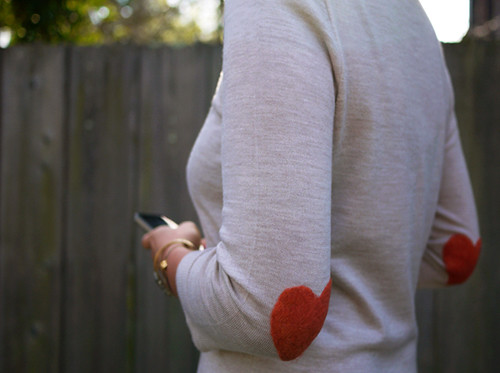 diy project: heart elbow patches | by the style files