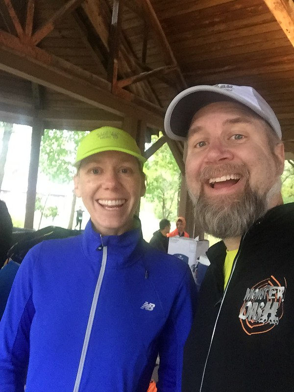 Andrea and Fuzzy at the Des Plaines River Trail Half-Marathon