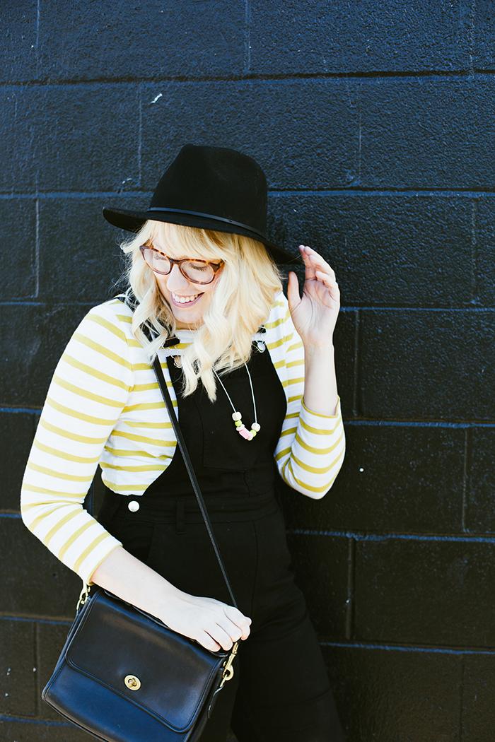 writes like a girl black overalls striped shirt8