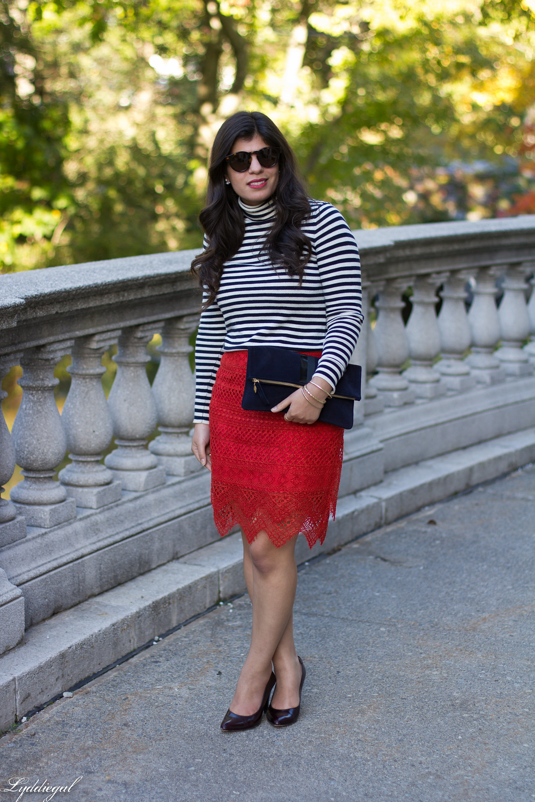 red lace skirt, striped shirt, navy clare v clutch, coach pumps-1.jpg
