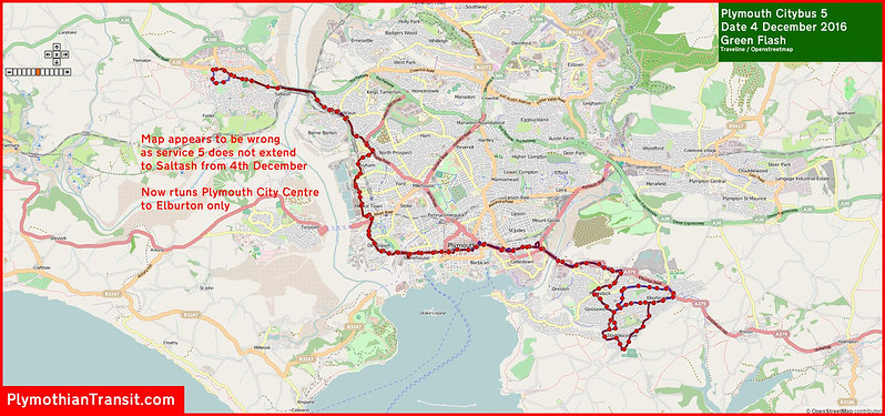 2016 12 04 Plymouth Citybus Route-005 Map.jpg