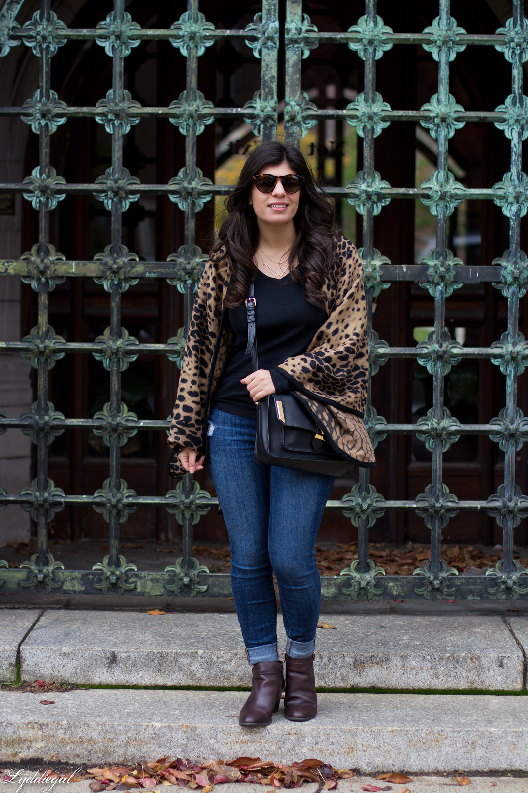 leopard poncho, jeans, black tee, brown booties-5.jpg