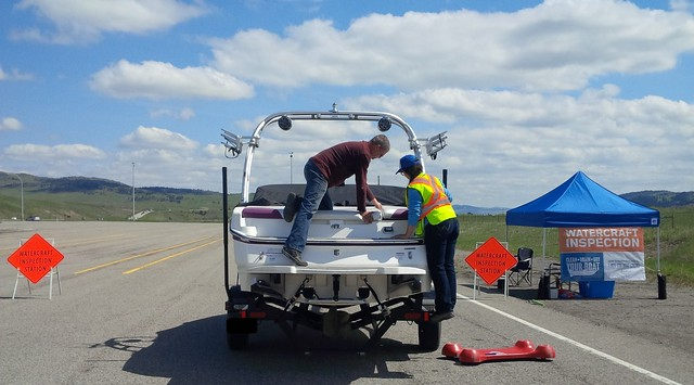 Watercraft inspectors intercept boat carrying invasive mussels at Sylvan Lake