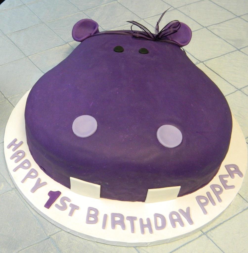 Purple Hippo Birthday Cake Stephaniethebaker Stephanie Baker