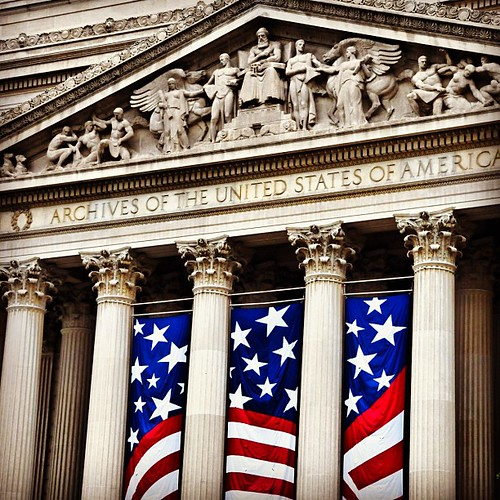 Flag post drop at US #National #Archives #Building. Home of the original copies of the Declaration of Independence, the #Constitution and the Bill of Rights! Kewl! #Washington #DC | by ArtJonak
