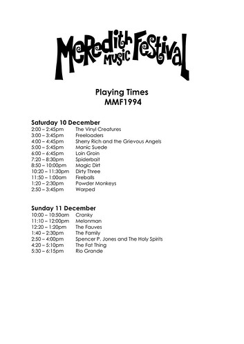 MMF1994 Playing Times | by Aunty Meredith