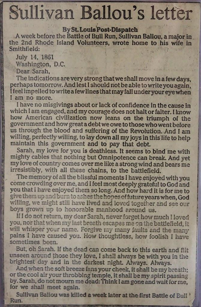 Sullivan Ballou s letter I photographed a copy of this let…
