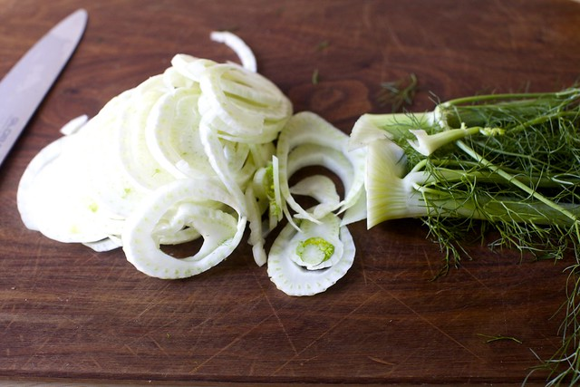 slicing the fennel