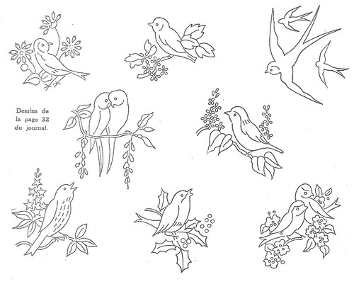 Birds vintage french embroidery pattern