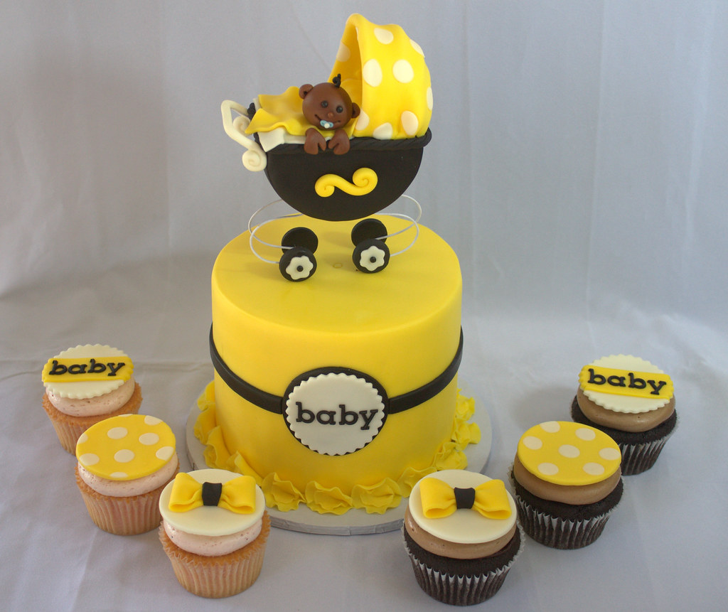 Black And Yellow Baby Shower Cake And Cupcakes Sara Mayes Flickr