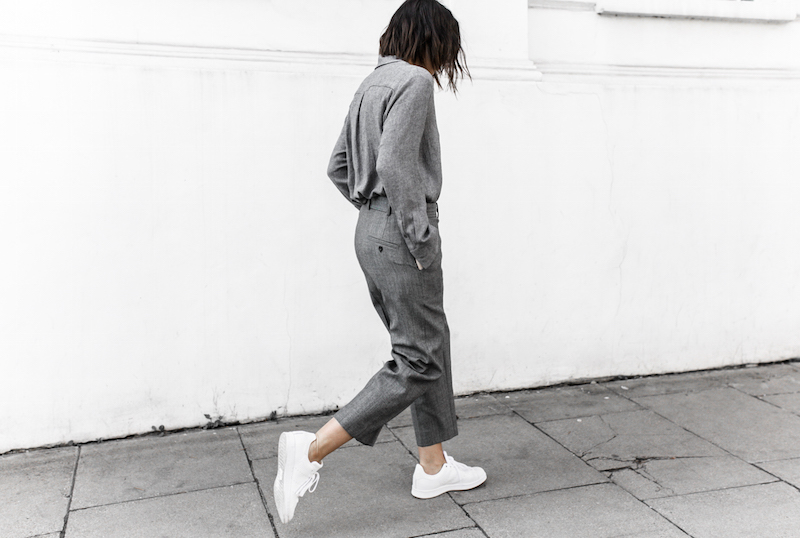 all grey texture outfit inspo RAEY MatchesFashion.com coat sneakers street style modern legacy fashion blogger monochrome minimal (4 of 13)
