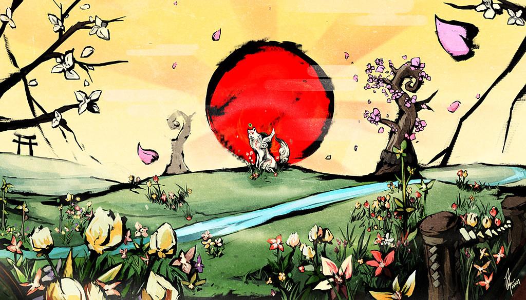 Okami Rising Sun Wallpaper