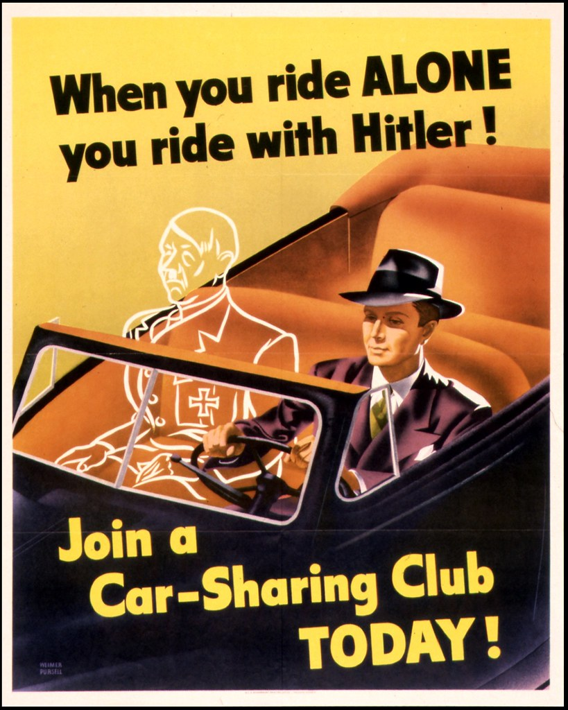car sharing club poster by weimer pursell 1943 us government printing office