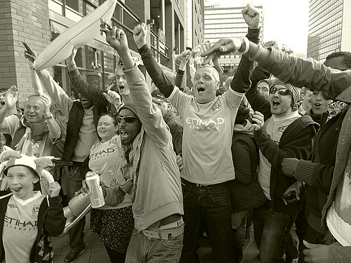 city fans celebrate | by Broady - Salford art and photography