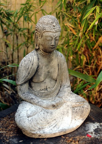 Buddha wearing robes, seated, meditation, white concrete, bamboo, garden, South Bay Vajrayana, Cupertino, Silicon Valley, California, USA | by Wonderlane