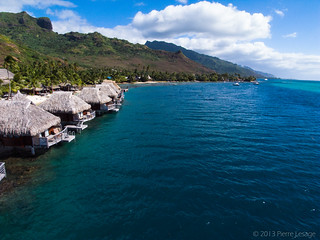 OverWater Resort in Moorea Seen from a Kite | by Pierre Lesage