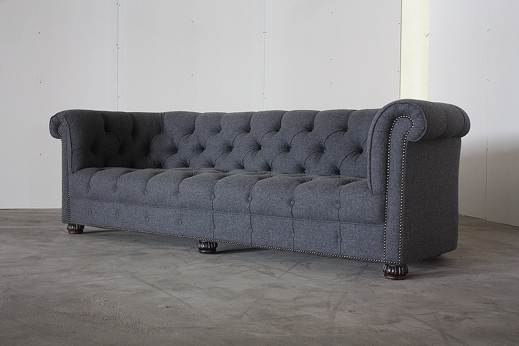 Spectacular Grey Wool Vintage Chesterfield Sofa U S A 19 Flickr