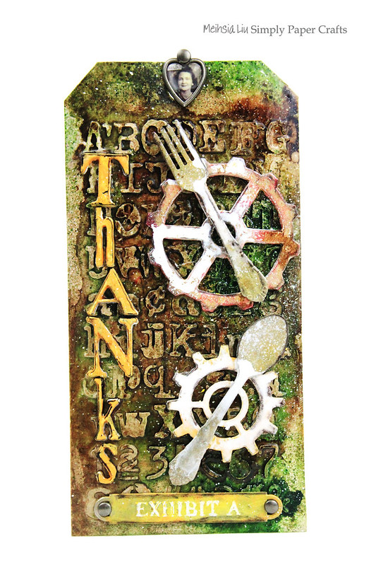 Meihsia Liu Simply Paper Crafts Mixed Media tag Thanks Simon Says Stamp Monday Challenge Tim Holtz