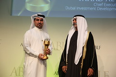 Fahad Al Gergawi, Chief Executive Officer, Dubai Investment Development Agency (Dubai FDI), UAE, receiving the ABLF Ambassador of Commerce Award from H.H. Sheikh Nahayan Mabarak Al Nahayan, Minister of Culture and Knowledge Development, UAE