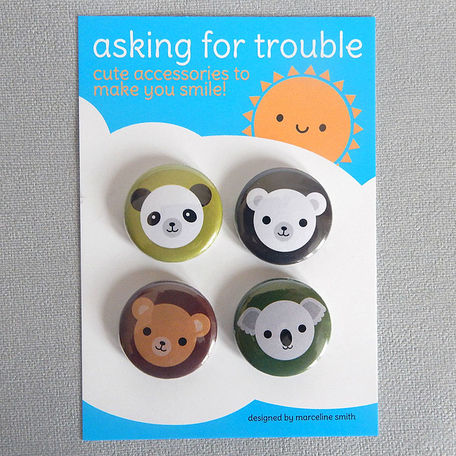 Kawaii Bears badge set
