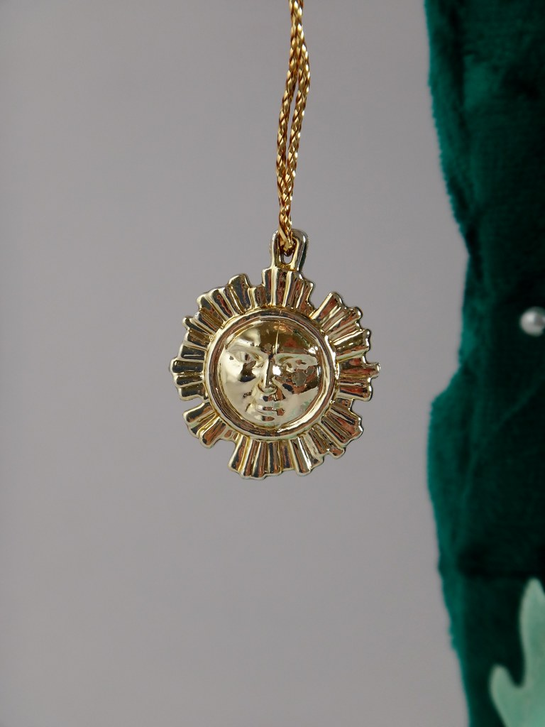 occult pendant burning sun vintage with crescent necklace moon p gothic golden