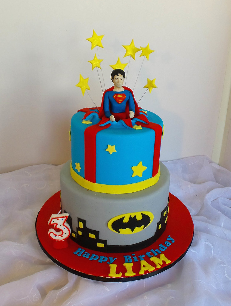 Superman And Batman Themed Birthday Cake Willi Probst Bakery Flickr