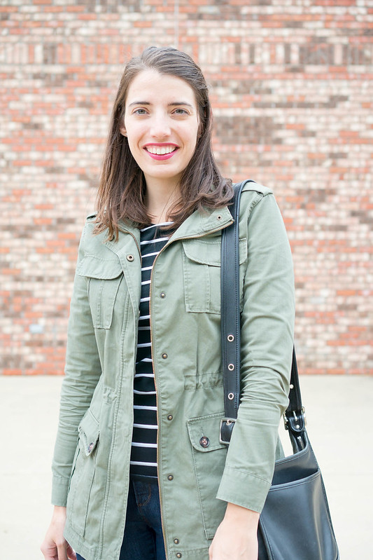 merona utility jacket + black and white stripe tee + loft jeans + vintage coach purse | Style On Target blog