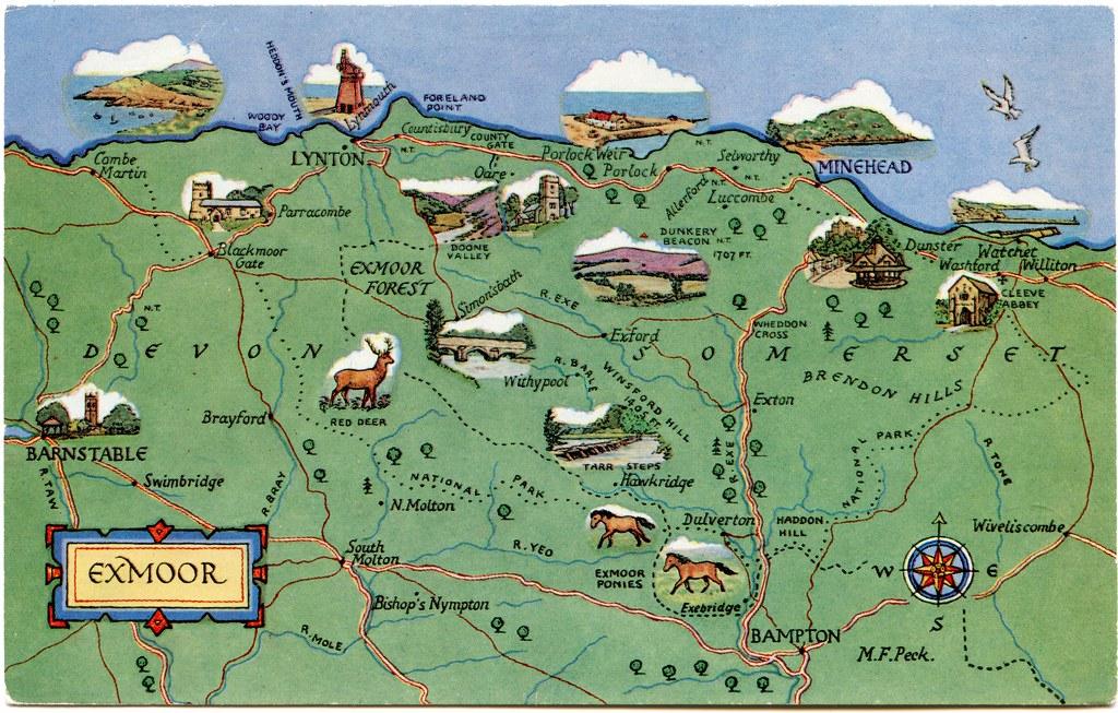 Map Of Exmoor Postcard map of Exmoor | Drawn by M F Peck. J Salmon Ltd., S… | Flickr Map Of Exmoor