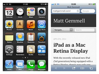 iOS on iPhone - Home screen and Safari | by Matt Gemmell