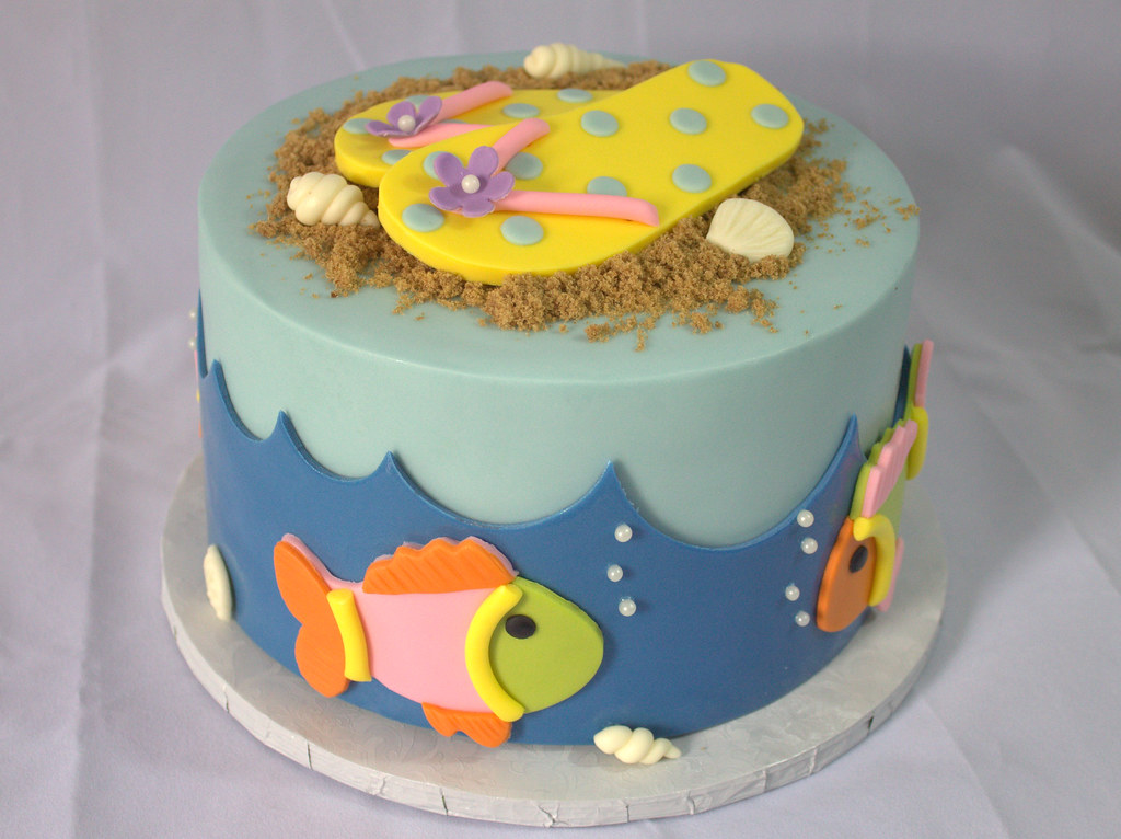 Beach Themed Birthday Cake Sara Mayes Flickr
