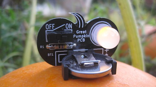 Pumpkin PCB on a pumpkin | by Low Voltage Labs