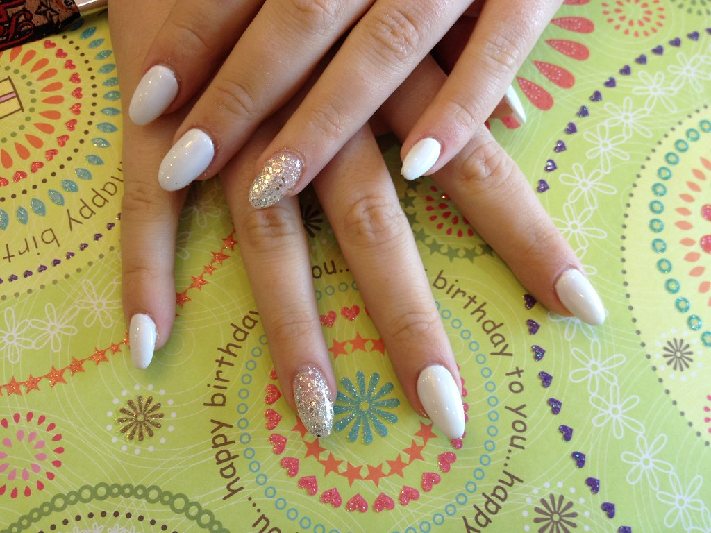 Acrylic nail almond shape with with gelPolish and silver g… | Flickr