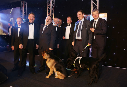 Partner of the Year winners from Microsoft and Gamelab with award presenter, David Blunkett MP | by Guide Dogs UK